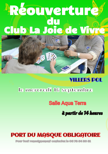 """Reprise du club """"La joie de vivre"""""""